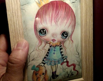 Original painting framed OOAK 'Fifi with bear doll'