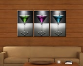 Framed Huge 3-Panel Martini Cocktails Canvas Art Print - Ready to Hang