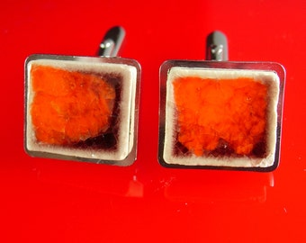 Artisan RED Cuff links Modernist abstract volcano color Cuff links Red Ceramic Vintage cracked distressed earthy design Men's Women's