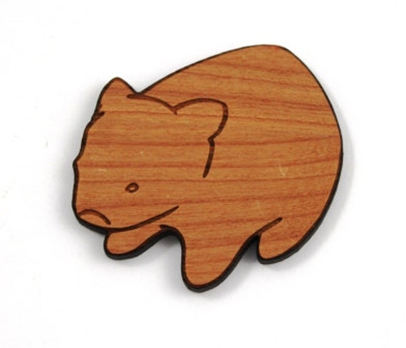 Laser Cut Supplies-1 Piece.Australian Wombat Charm -Cherry Wood Laser Cut Wombat - Little Laser Lab Sustainable Wood Products