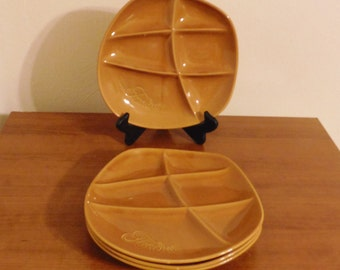 Vintage ceramic fondue plates (set of 4)