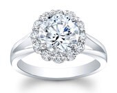 Women's Platinum shared prong halo engagement ring with 2ct natural Round Brilliant White Sapphire Center 0.80 ctw G-VS diamonds