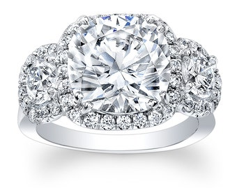 Women's 18k white gold diamond cushion halo three stone engagement ring 0.40 carats G-VS2 quality (3 center gemstones white sapphire)