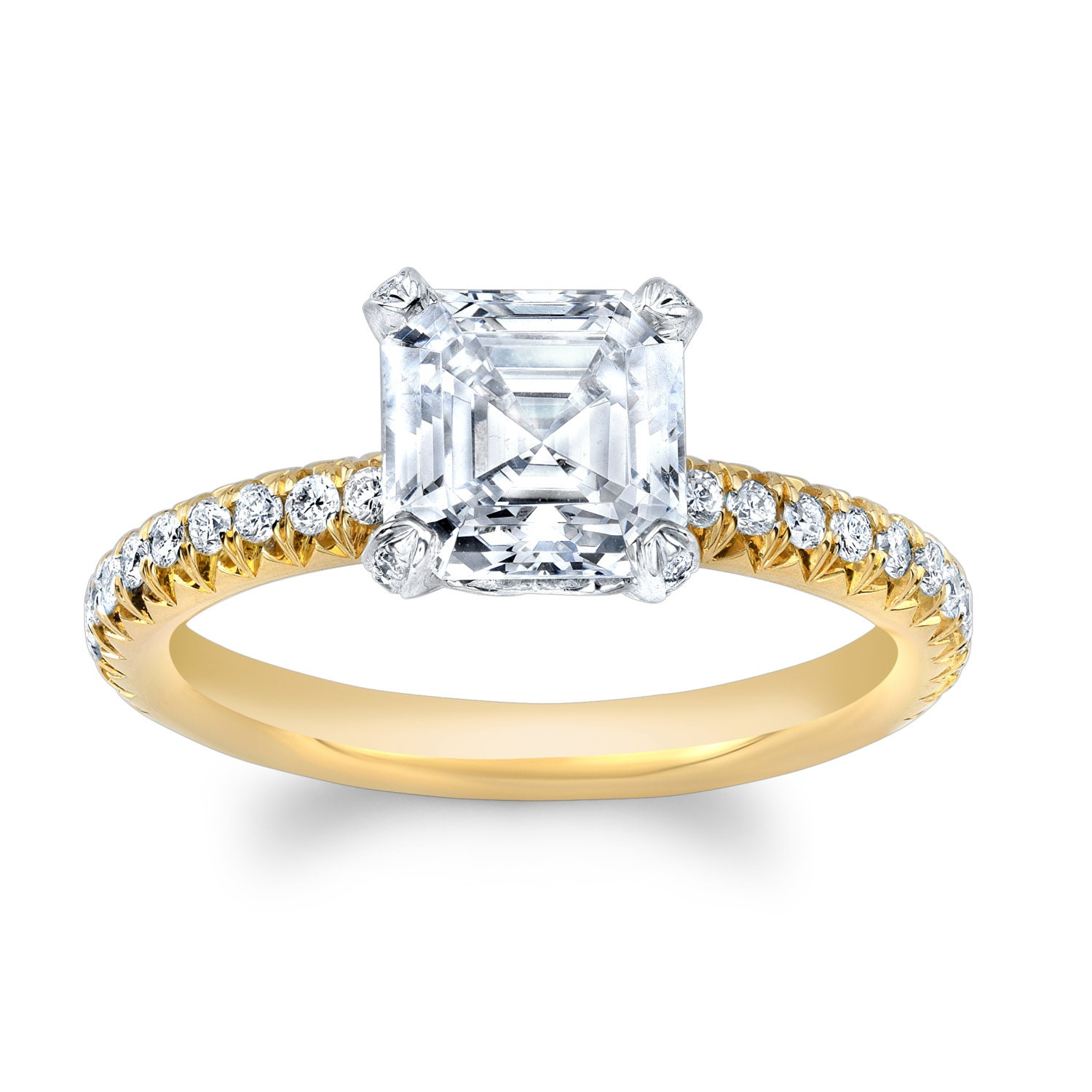 La s 14kt two tone engagement ring with 2 ct Asscher Cut