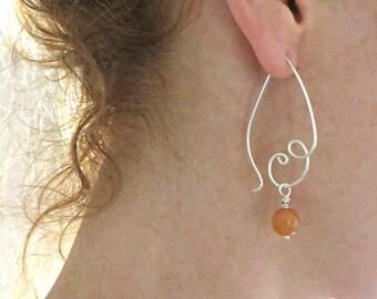 Beaded Hoops Earrings Sterling Silver Swirl Hoops Aventurine Beads Orange