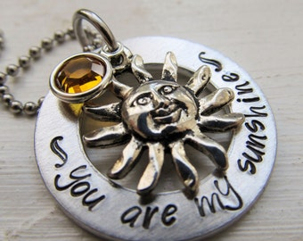 You Are My Sunshine Necklace Hand Stamped Jewelry Swarovski Necklace Sunshine Necklace Gift For Her College Gift