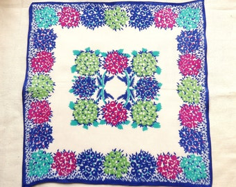 Handkerchief, vintage, a floral repeat design, in shades of plum, green, turqoise, & blue. silk. c1930's.