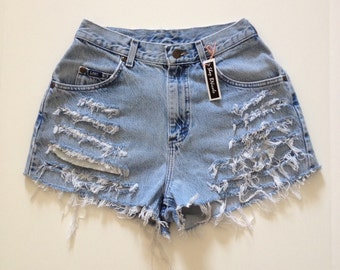 Blue Denim Jean ripped high waisted shorts fringe distressed 26 waist 40 hip