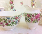 Chintz 1930s Creamer and Sugar Bowl, Crown Staffordshire