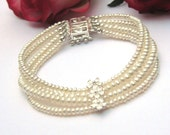 Dainty Ivory freshwater 4 strand button freshwater pearl  strand bracelet with Sterling silver + CZ flower box clasp