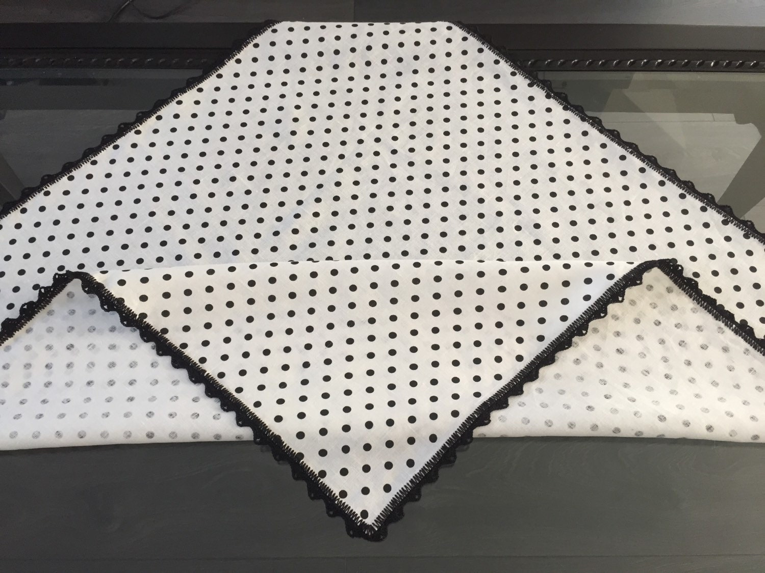 Linen White And Black Polka Dot Table Runner By Karilora