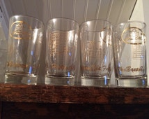 Happy Birthday From The Factory - Vintage Set Of 4 Libbey Highball Cocktail Ethan Allen Advertising Glasses With Fun Gold Furniture Graphics