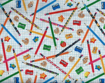 Classroom fabric - school supplies erasers pencils sharpeners  - Timeless Treasures - by the YARD