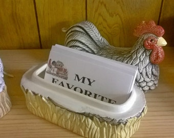 Ceramic Chicken or Rooster Recipe Box