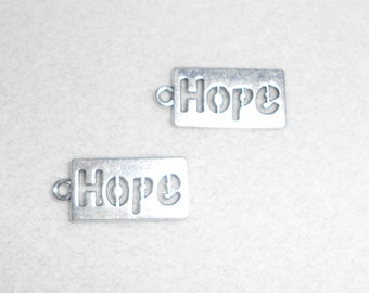 "Silver ""Hope"" saying Charms"