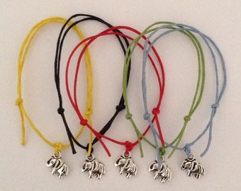 Pack of 5 Charm Friendship Bracelets - ELEPHANT - Hen Night Girls Party Bags