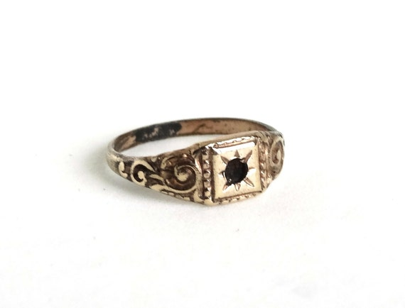 antique baby ring yellow gold filled band etched