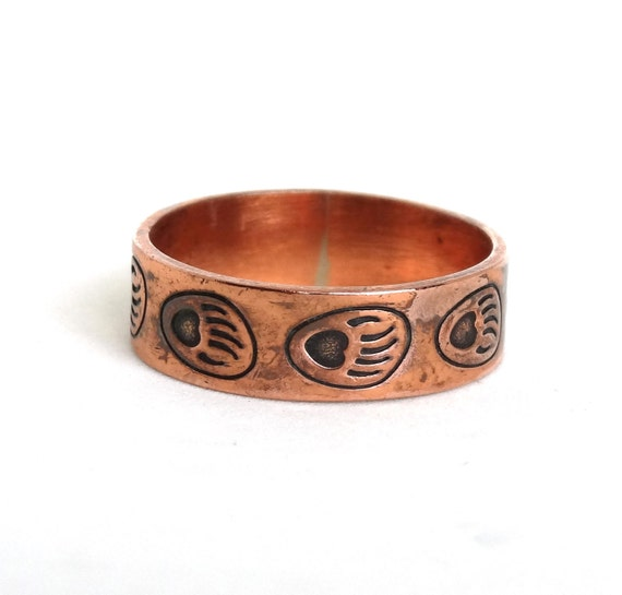 Wedding Rings For Men India: Vintage Solid Copper Mens Ring Band W Bear Paw Prints Native