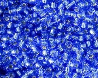 Size 8/0 Miyuki Silver Lined Dark Cornflower Blue Seed Bead - 18 Grams - 1381 - Miyuki Color 8-2431