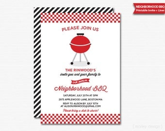 Neighborhood BBQ Invitation Neighborhood Party Block Party Printable Barbeque Invite Housewarming Summer Party Summer BBQ Grill Invitation
