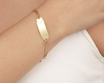 Gold Bar Bracelet, Skinny Bar Bracelet, Dainty Layering Bracelet, Gold Heart Bracelet, Everyday Bracelet, 24k Gold Plated Jewelry.