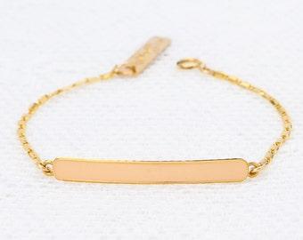 Pink and Gold Bracelet Bar Bracelet dainty friendship bracelet layering skinny bar bracelet gold filled jewelry.