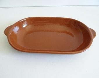 Brown Stoneware Oval Baking Dish - Stoneware Baking Dish - Casserole Dish - Brown Stoneware Rectangular Baking Dish