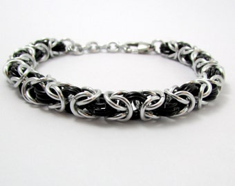 Black and Silver Bracelet – Byzantine Weave Chainmaille Bracelet – Handmade Chainmail for Men and Women