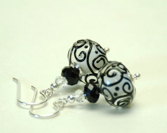 Black and White Lampwork Glass Earrings - Sterling Silver Earwires - Handmade Jewelry
