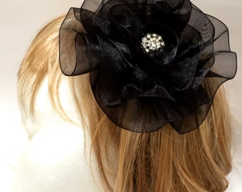 Black Flower Fascinator, Fabric Flower Hair Clip, Large Black Flower
