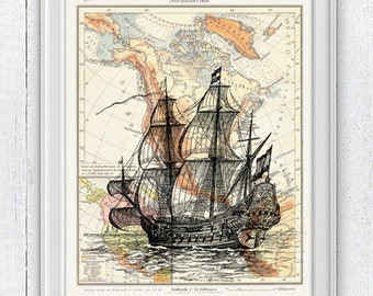 Old Ship printed on Vintage map form America- Mixed media Poster - sea life print- Vintage ship in a vintage German map SPN038