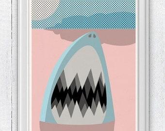 Nursery wall Art Print - Shark - Sea animal illustration wall decor  - Nursery room modern  decoration SPNR08