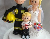 Firefighter wedding cake topper- Custom made bride and groom with pageboy / kid / child wedding cake topper