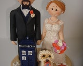 Doctor Who Theme Wedding Cake Topper with mini Tardis - Custom made bride and groom wedding cake topper