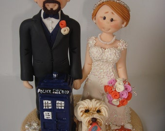 Doctor Who Theme Wedding Cake Topper with mini Tardis - Custom made bride and groom wedding cake topper