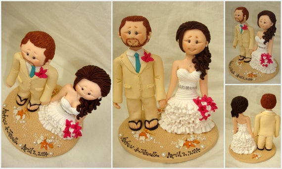 Personalised bride and groom on beach wedding cake topper - Beach theme wedding cake topper