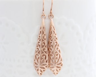 Rose gold filigree earrings • Floral lace drop earrings • Rose gold earrings