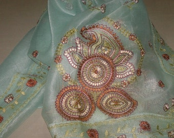 Long Scarf Indian Sari Scarf Mint Green Scarf Embroidered LSF1