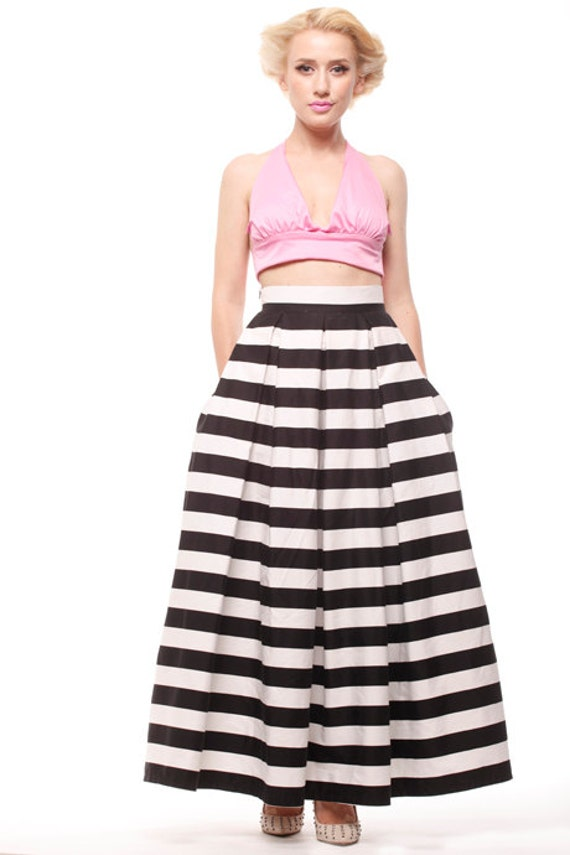 Stripes Long skirt, Maxi Floor-length pleated skirt with pockets, custom made skirt, prom long skirt, bridesmaid skirt