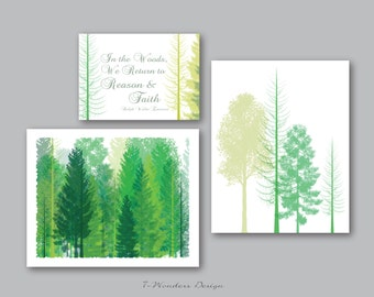 "Tree Art Ralph Waldo Emerson- Digital Fine Art - Set of 3-2-8x10's and 5x7"" -  Inpirational Modern Wall Art // Shades of green"