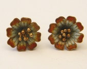 Vintage Early 1970s Laurel Burch Style Rare NOS Cloisonné Enamel Flower Pierced Earrings Sterling Silver 24k Gold Wash