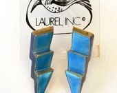 Vintage Early Laurel Burch Style 1970s NOS Cloisonné Enamel Lightning Bolt Lines Pierced Earrings Sterling Silver