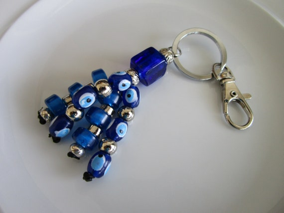 Blue Evil Eye Charm Keychain Beaded Evil Eyes Tassel Evil Eye