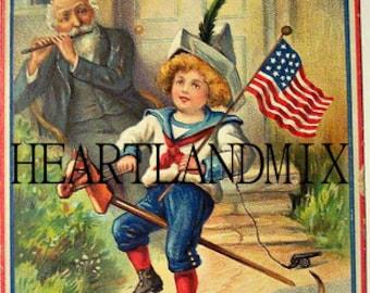 Yankee Doodle Dandy vintage digital image, 4th of July