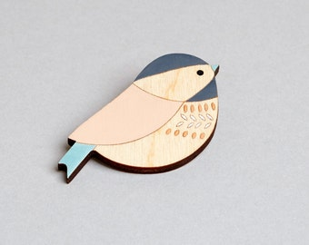 Wooden Bird Brooch - Bird Brooch - Coaltit