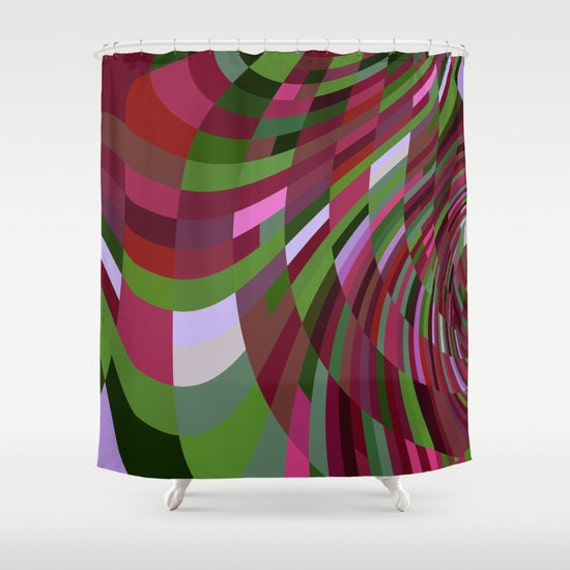 Items Similar To Shower Curtain Burgundy Green Pink Purple And White 71 X 74 On Etsy
