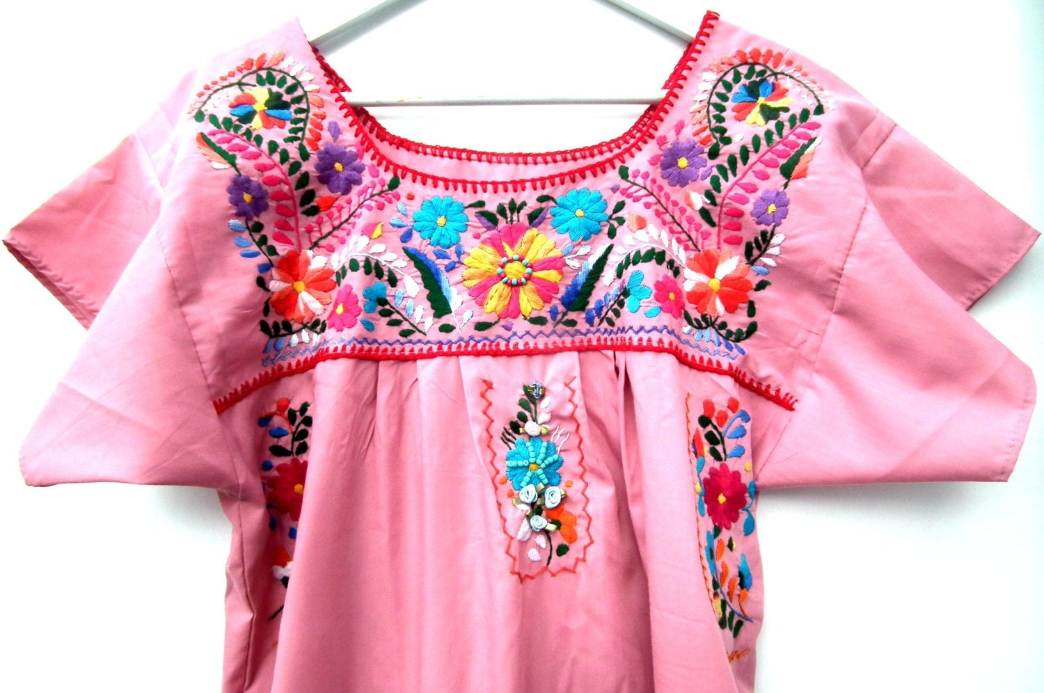 Mexican dress fig embroidered peasant flowers