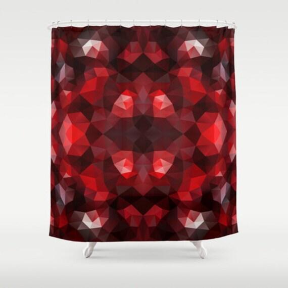 Shower Curtain Art Curtain Red Geometric Abstract Curtain