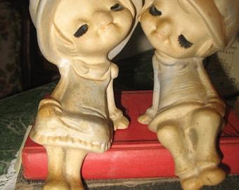 Figurine boy & girl in love.   UCCTI Japan. Ceramic character.