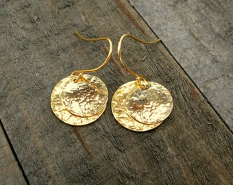 Gold Hammered Disc Earrings, Drop Earrings, Gold Dangle Earrings, Gold Earrings, Bridesmaid Earrings, Simple Earrings